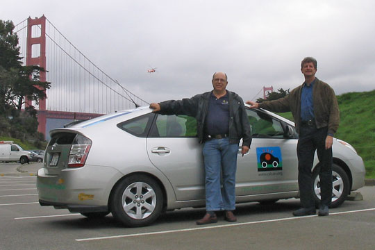 Felix Kramer and Ron Gremban with the PRIUS+, the world's first plug-in hybrid