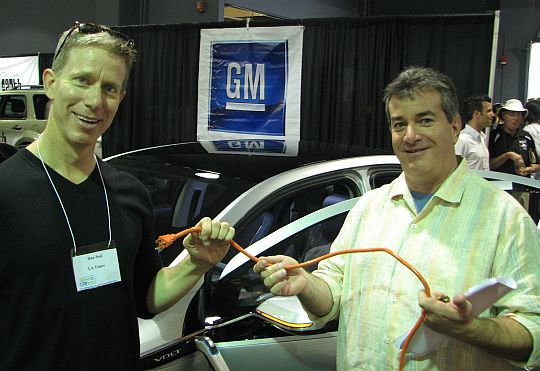 LATimes Rumble Seat columnist Dan Neil and GM's Dave Barthmuss at Santa Monica's AltCar Expo, September 2008