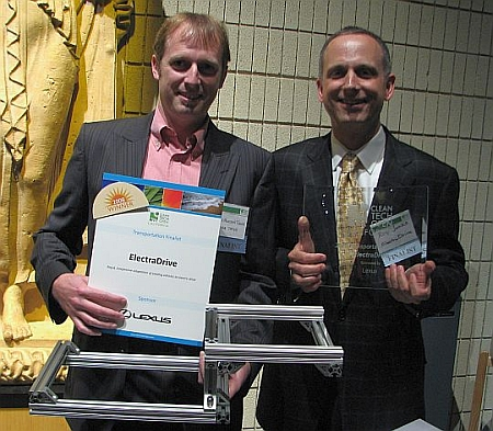 Electradive's Frasier Smith and Ray Jenks win Transportation Prize at California Cleantech Open, November, 2008