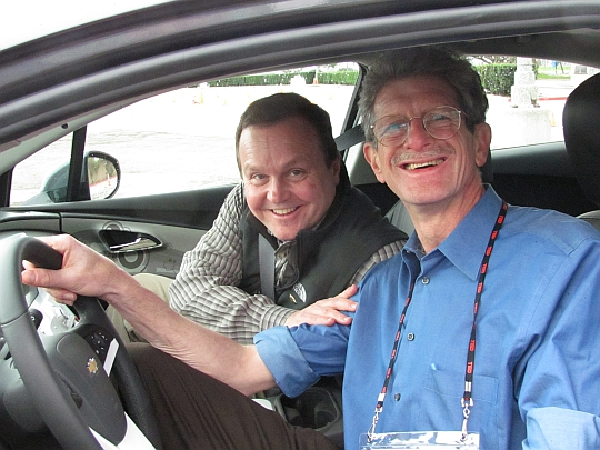 Felix Kramer driving a Volt with GM's Volt Vehicle Line Director at TED 2010